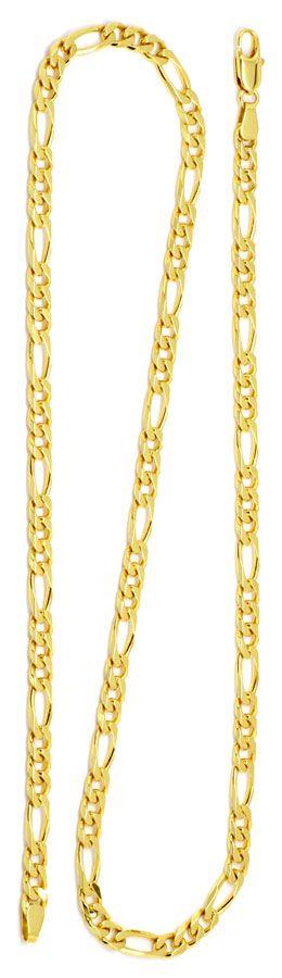 Foto 3, Figaro Flachpanzer Goldkette in massiv 18K/750 Gelbgold, K2185