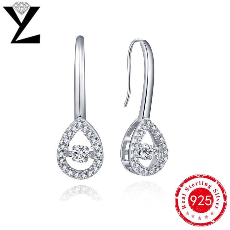 Big Promotion 925 Sterling Silver Hanging Earrings for Women Long Dancing CZ Diamond Gold Plated Fashion Earrings Luxury 2016