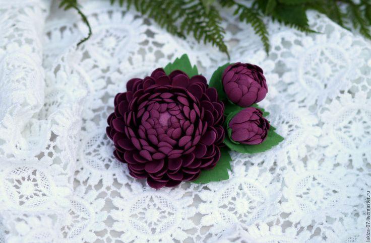 Купить Брошь с Хризантемой из фоамирана - бордовый, брошь, брошь цветок, брошь-цветок, брошка