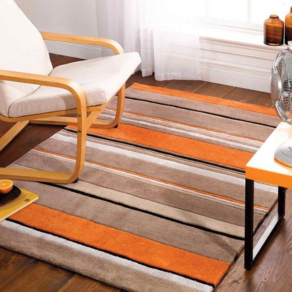 Inspire Broad Stripe Rugs In Orange Beige Are Handmade China With A Luxurious