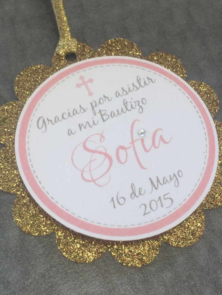 "3D Gold & Pink Baptism Favor Tags. Christening tags. 2.5"" inches by Graphikstudio on Etsy https://www.etsy.com/listing/230908719/3d-gold-pink-baptism-favor-tags"