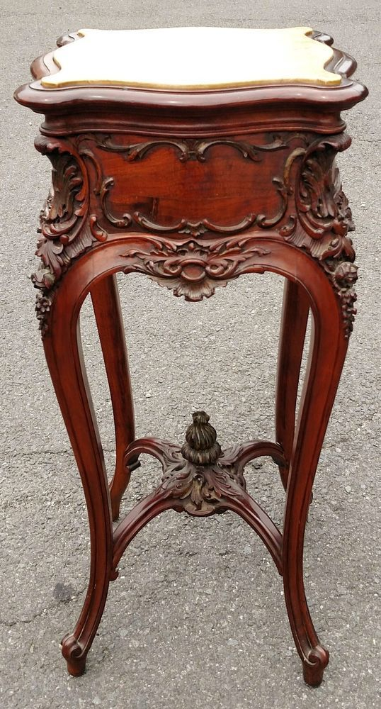 ~ Antique 19th c. French American Carved Walnut Tabouret Stand Pedestal Table ~ ebay.com