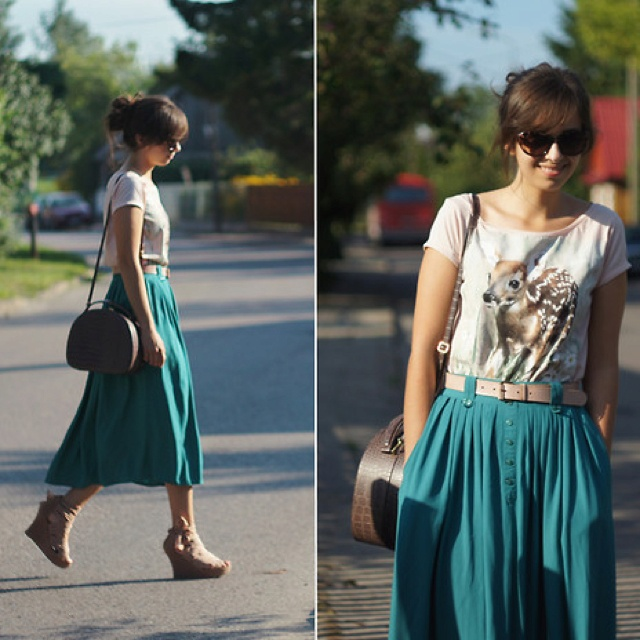 Maxi + tee + belt. Cute simple fashion