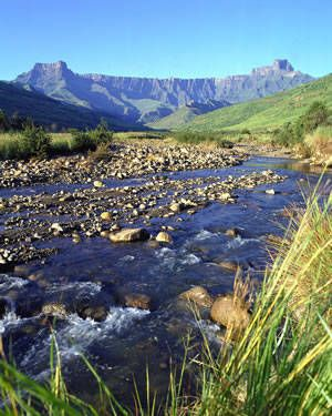 The Drakensburg Mountains stretch the entire length of KwaZulu-Natal's western boundary, about 600 miles. You can enjoy hiking trails, bird watching, game viewing, horse trails, bushman rock art, guided tours, 4x4 trails, quad bikes, golfing, trout fishing, white water rafting, rock climbing and more.
