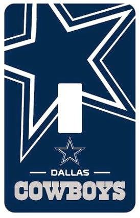 Dallas Cowboys Peel-N-Stick Light Switch (Single) Cover Easy to apply - Just peel and stick on Easy to Remove Designed for single switch plate covers Blue Dallas Cowboys logo with star Great gift idea for kids http://livinggood-entrepeneural.blogspot.com/2014/11/gift-ideas-for-dallas-cowboys.html