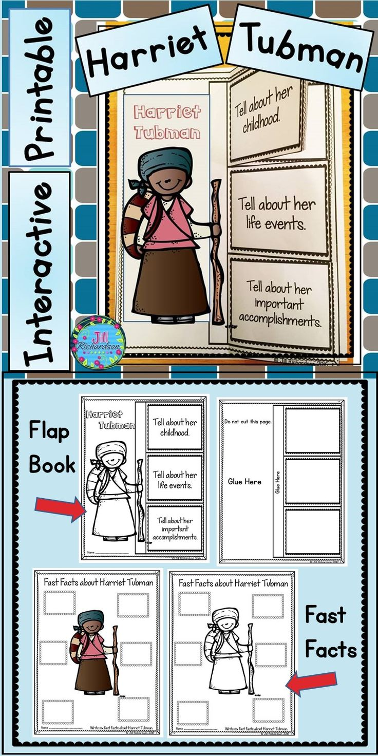 This Harriet Tubman activity  includes two ways for your children to share what they have learned about Harriet Tubman in writing using an interactive printable and fast facts printable.  Harriet Tubman Flap Book Writing Printable (color and black and white) Harriet Tubman Fast Facts (color and black and white)
