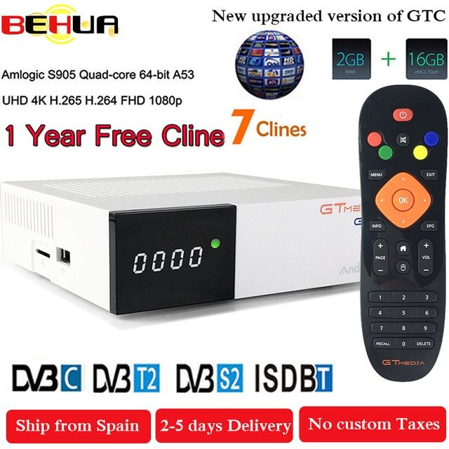 Freesat Gtc Receptor Dvb S2 Dvb C Dvb T2 Amlogic S905d Android 6 0 Tv Box 2gb 16gb 1 Year Clinne Satellite Tv Receiver Tv Box Review Satellite Tv Dvb T2 Satellites