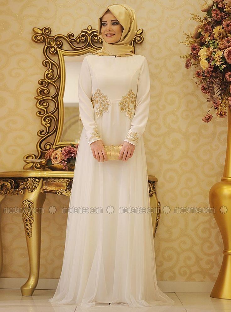 Swan Tulle Detailed Evening Dress - Ecru - Gamze Polat