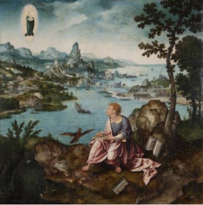 Joos van Cleve and Lucas Gassel (Belgian, before 1500-1540 and c. 1500-1570). St. John the Evangelist on Patmos, c. 1525. the University of Michigan Museum of Art, Michigan. Museum Purchase, 1958. http://www.umma.umich.edu