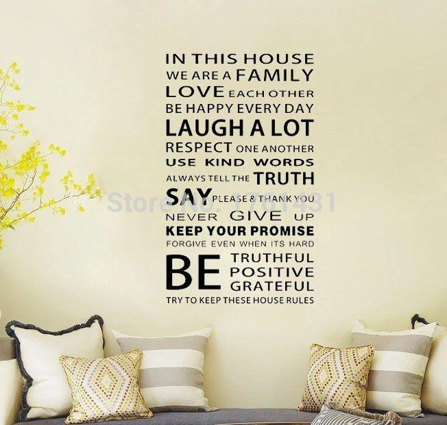 Мы Семья В Этом Доме украшения Стикер Стены вдохновляющие цитаты Искусство деколь декора стены искусства наклейки цитатой