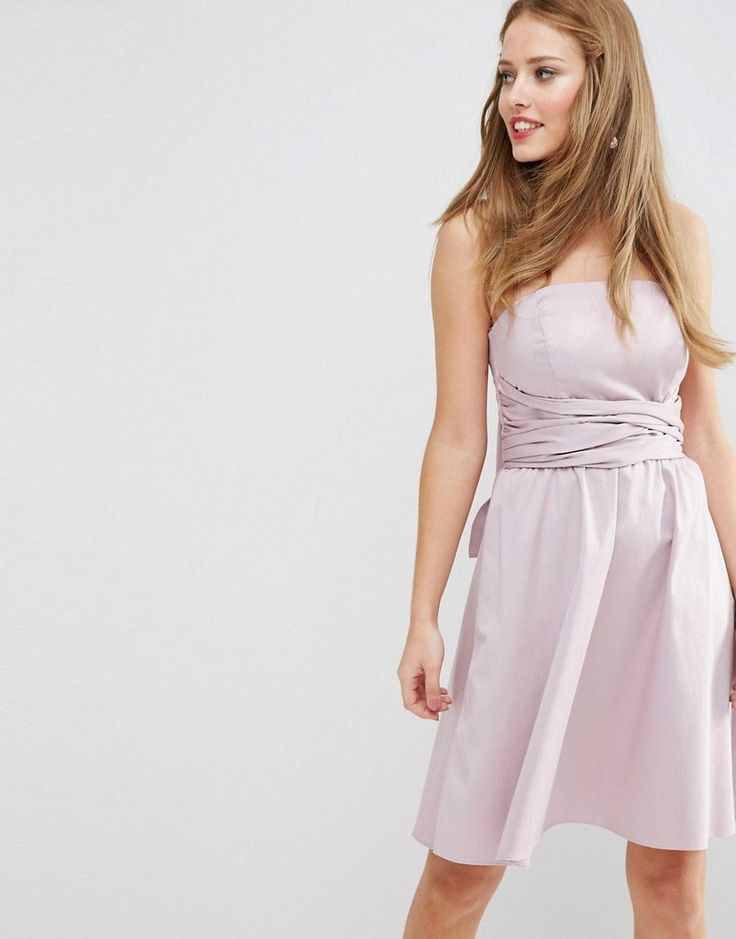 ASOS WEDDING Structured Mini Dress with Bow Detail - Purple