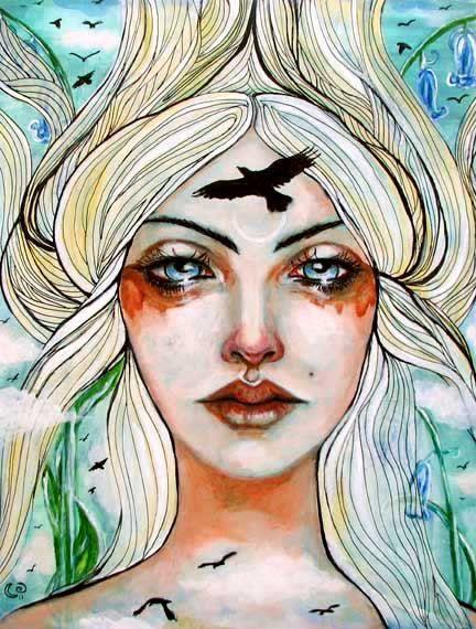 Freyja Norse Goddess Pagan Mythological 8x10 art by MoonSpiralart, $16.00