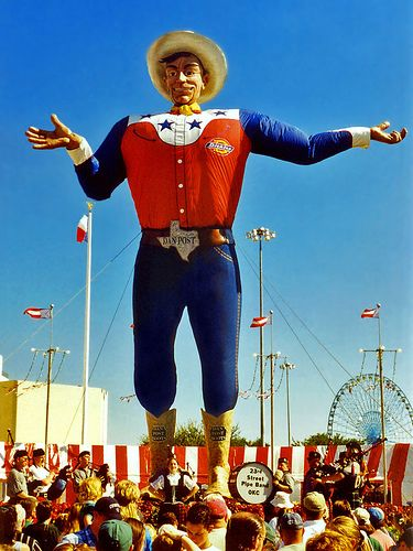 The symbol of the State Fair of Texas, Big Tex welcomes one and all to the fair in Dallas' Fair Park. Big Tex changes his duds every couple of years.