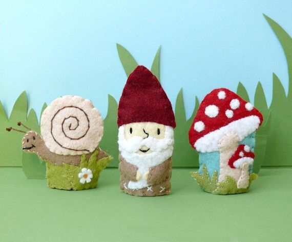 Felt Finger Puppets: Snail, Garden Gnome For Joshua's QuietBook? Store them in a big Toadstool and add the (pincushion) hedgehog...
