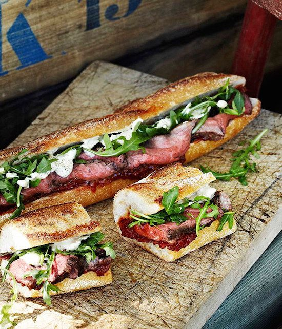Fantastic picnic recipes: Rare roast beef baguettes are the perfect main for a picnic menu.  via Gourmet Traveller