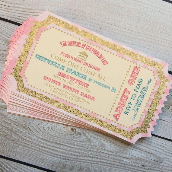 Princess Ticket Carousel Invitation by littleshoppeofpaper on Etsy