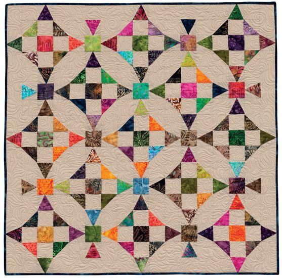 nine patches w half-square corners, alternate tri-recs nine-patch, border w tri-recs