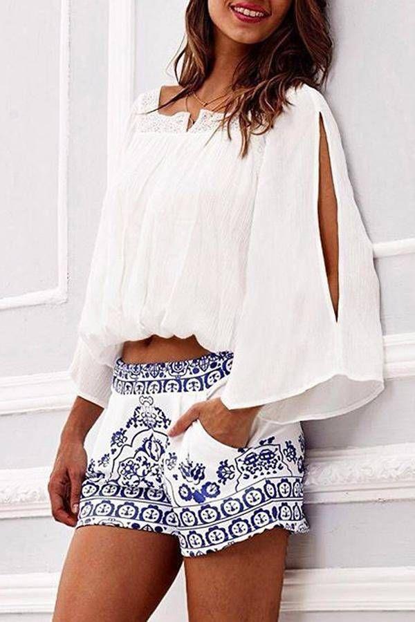 White Split Kimono Sleeve Chiffon Crop Top ==