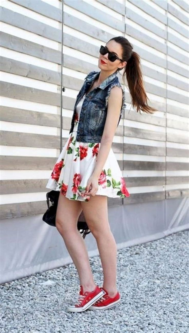 Floral Dress and red Converse