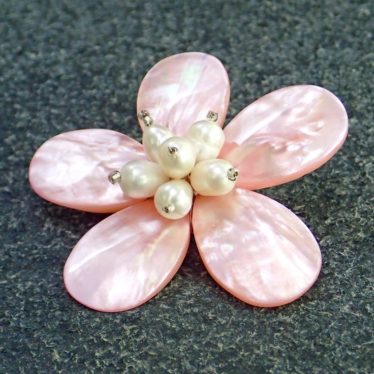 Brooch from pink dyed mother of pearl, fresh water white pearls. Statement, gemstone, handmade, classic, flower, pink colour, for her, pin by Menir on Etsy