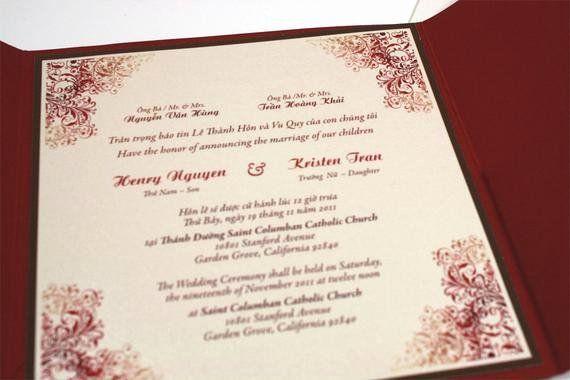 Free Vietnamese Wedding Invitation Template Beautiful Bilingual English An Wedding Invitation Templates Wedding Invitation Wording Templates Vietnamese Wedding