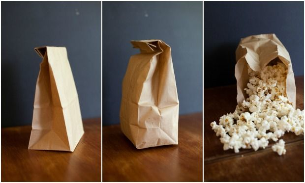 DIY Microwave Popcorn -- Unbelievable! just drop your kernels and oil in the bag, fold up, and microwave. This secret will put Orville Redenbacher out of business!
