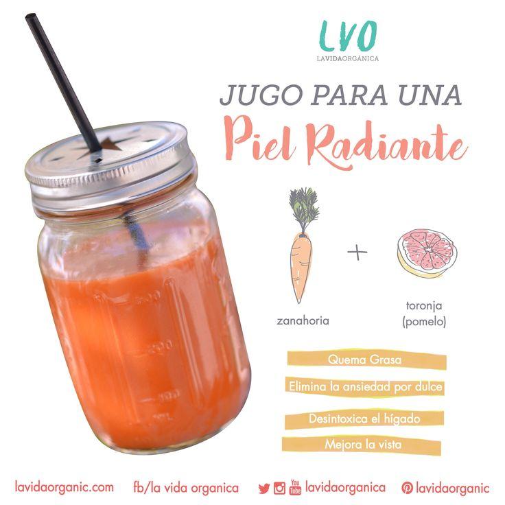 jugo para una piel radiante  4 zanahorias 1 toronja   se pasa por el extractor y listo!