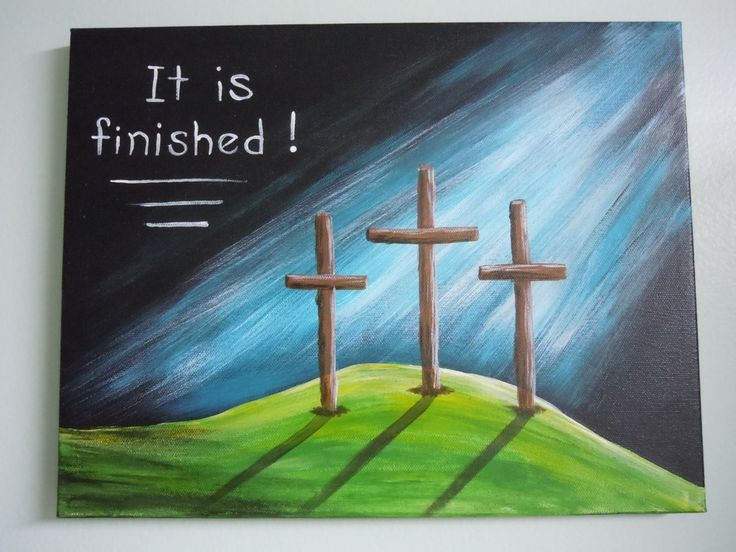 It Is Finished Calvary Wall Art Three Crosses Cross Canvas PaintingsChristian