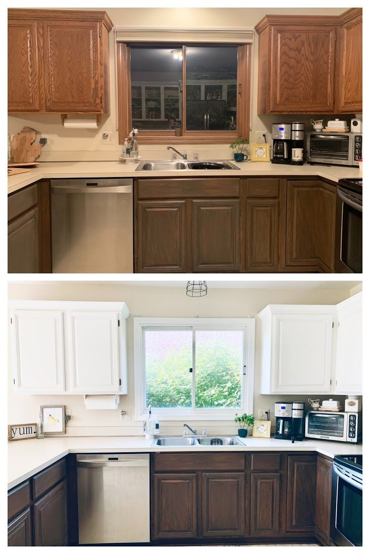 Painted And Stained Kitchen Cabinets In 2020 Stained Kitchen Cabinets Staining Cabinets Two Tone Kitchen Cabinets