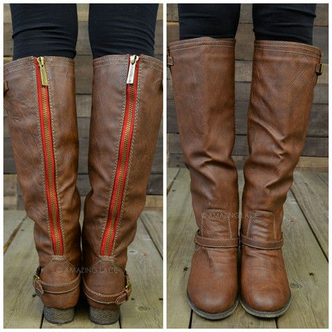 Montana Skye Tan Red Zipper Riding Boots | Amazing Lace.....I WANT ...