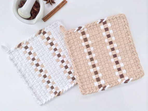 """Woven Potholder Set All Cotton Hand Dyed Loops """"Sugar & Spice"""" Kitchen Decor Cottage Chic Gift White Tan Brown Stripes Hot Pad Coasters"""