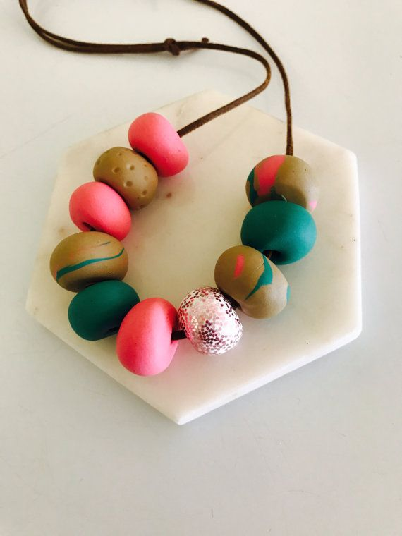 Polymer clay pinks greens and neutrals necklace by MillieandMaude