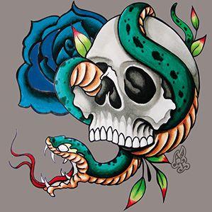 Azulejo Tattoo Snake, Pavão Revestimentos, Azulejo Cinza, Tile, Decor Tile, industrial decor, escandinava, skull