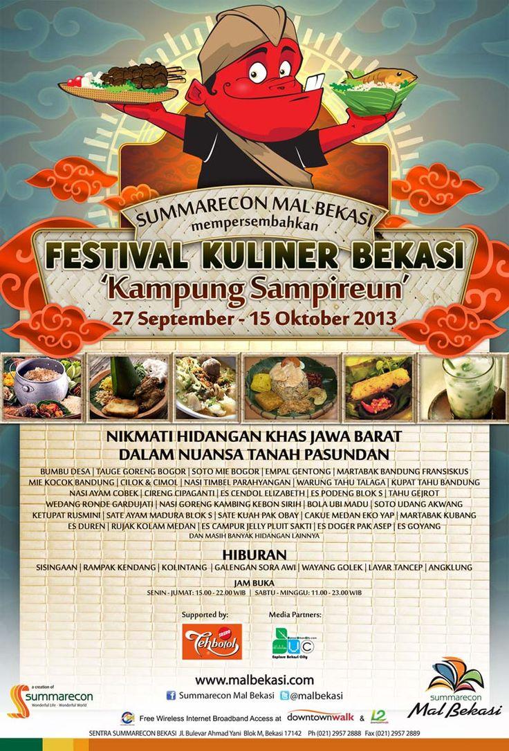 "FESTIVAL KULINER BEKASI (FKB) ""Kampung Sampireun""  27 September - 15 Oktober"