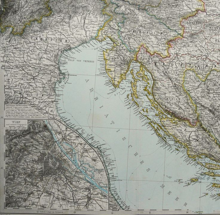 1882 Antique large map of the ADRIATIC