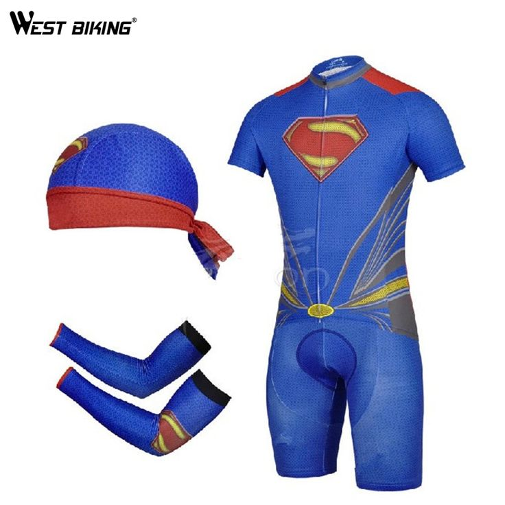 38.29$  Buy here  - Supperman Design Riding Cycling Equipments Bike Jerseys Sets With Cap Arm Sleeve Breathable Anti-Sweat Bike Cycling Jerseys