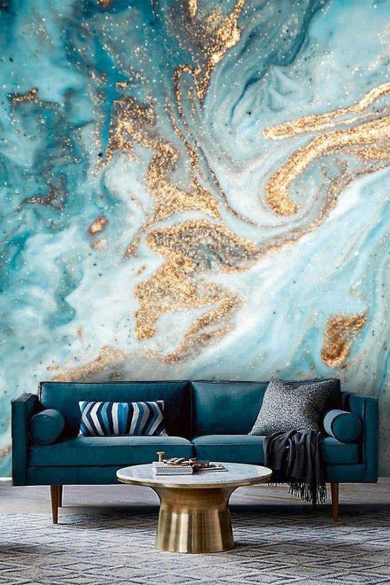 Papier Peint Abstrait Encre Or Avec Bleu Design Art Vinyle Auto Adhesif Decalcomanie In 2020 Blue And Gold Wallpaper Decor Wallpaper Living Room