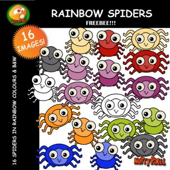 Introducing Nutty Pixel's FREE Rainbow Spider pack. This 16 piece set includes 2 different spiders in all 7 rainbow colours and b&w. Hope you all enjoy using these as much as enjoyed making them! PLEASE NOTE THAT THE SPIDERS ARE PART OF THE MEGA BUGS BUNDLE.
