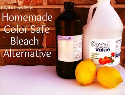 DIY Color-Safe Bleach  -1 1/2 Cups of Hydrogen Peroxide  -1/2 Cup White Vinegar  - 1/2 Cup Lemon Juice  -Gallon jug of water     Here is how to make your own...    Add hydrogen peroxide, vinegar, and lemon juice to a gallon jug. Fill the rest of the way with water. Add 1 cup to your wash and you will have softer and brighter clothing! It really works wonderfully...and hardly costs anything!