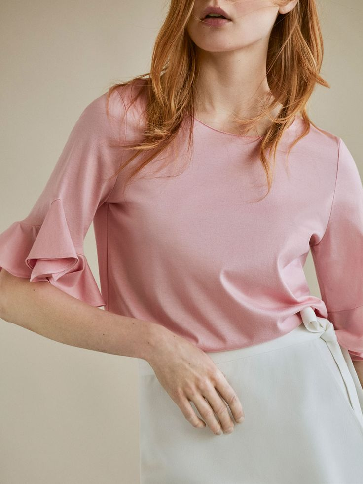 Spring summer 2017 Women´s CONTRAST SHIRT WITH RUFFLE DETAIL at Massimo Dutti for 29.95. Effortless elegance!