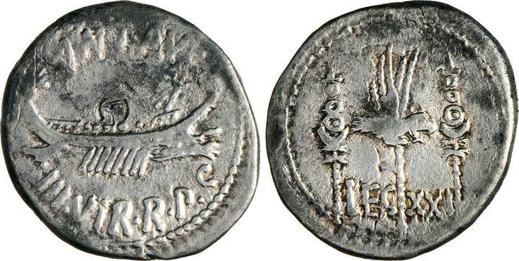 NumisBids: Numismatica Varesi s.a.s. Auction 65, Lot 130 : MARC'ANTONIO (32-31 a.C.) Denario, leg. XXI. B. 136 Syd. 1244 ...