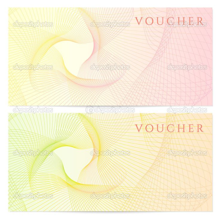 Gift Certificate, Voucher, Coupon Template With Colorful (rainbow)  Guilloche Pattern (watermark). Background For Banknote, Money Design,  Money Voucher Template