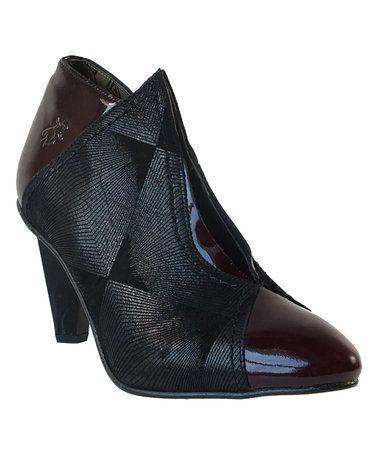 Burgundy & Black Diamond Arti Suede Patent Leather Bootie