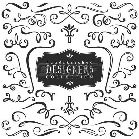 Riccioli decorativi d'epoca e turbinii collezione. Disegno a mano elementi di design vettoriale.