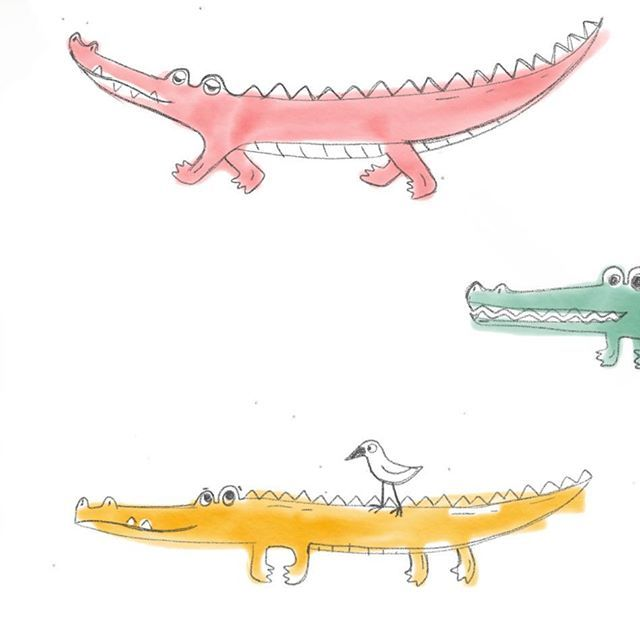 А пока @papretskite за завтраком писала лавандовую акварель я удлиняла крокодилов:)