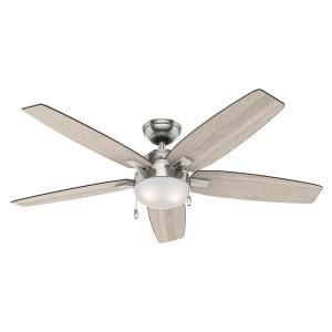 Hunter Antero 54 in. LED Indoor Brushed Nickel Ceiling Fan with Light 59183 at The Home Depot - Mobile