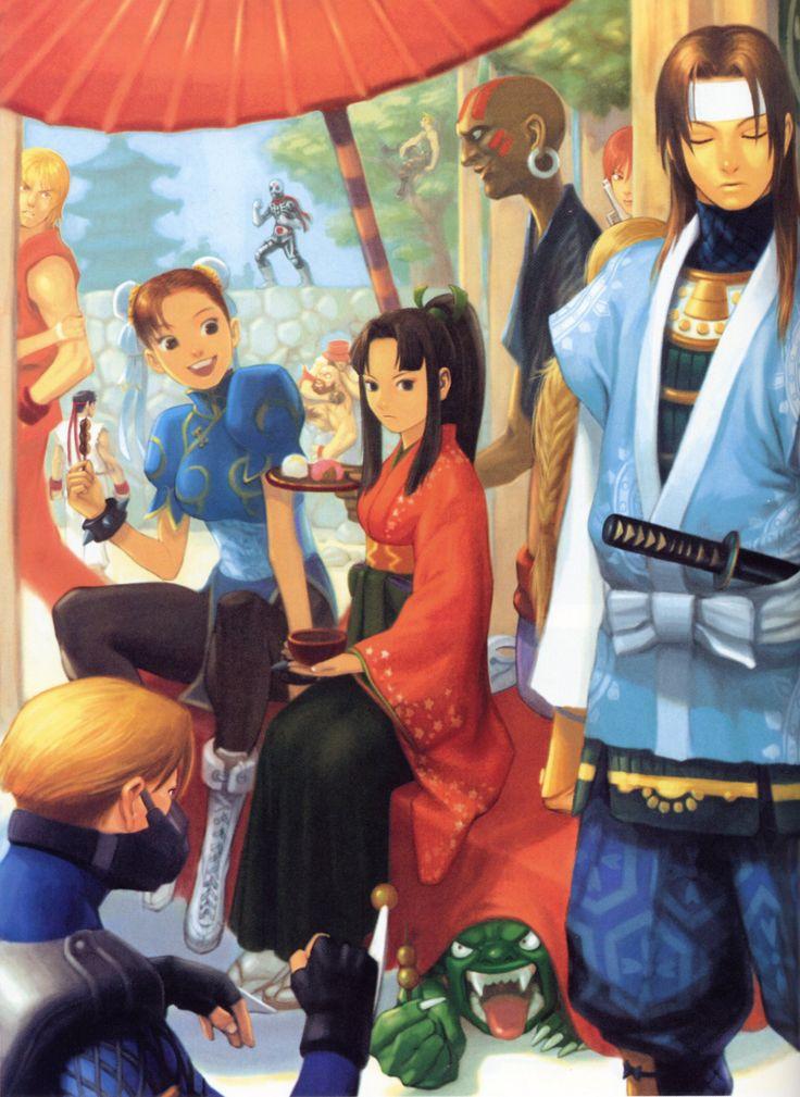"""ounomachi:  """"Ilustración promocional del juego Street Fighter EX 2 realizada por el artista Edayan. Extraída del libro de arte Capcom Design Works.  """""""