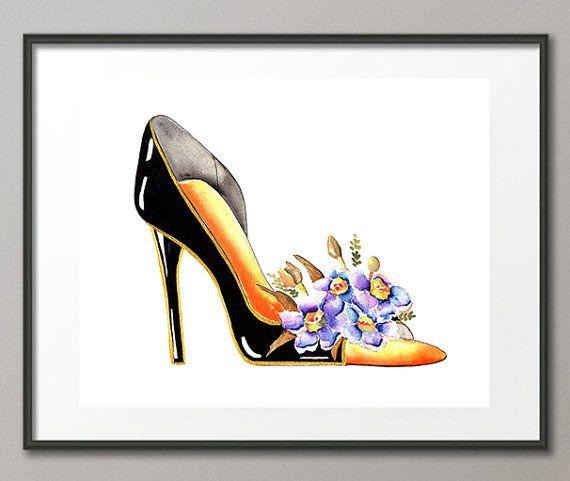 Una colección de zapatos caprichosos. La combinación de dos formas de feminidad, flores y tacones de aguja. Estas son de mis pinturas originales. Utilizar tintas de pigmento Epson genuino, que son probados y garantizados para no desaparecer al menos 200 + años. Cada impresión se envía con un respaldo seguro y en se propio celofán bolsa resellable. Cada impresión incluye un certificado de autenticidad firmado. Tenga en cuenta que aquí el marco no está incluido en la venta, es sólo para fines…