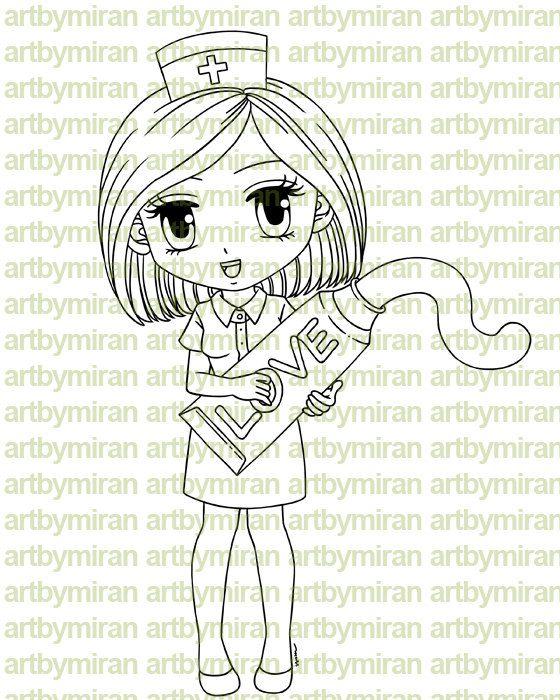 Digital Stamp - Nurse Nora, Digi Stamp, Coloring page, Printable Line art for Card and Craft Supply