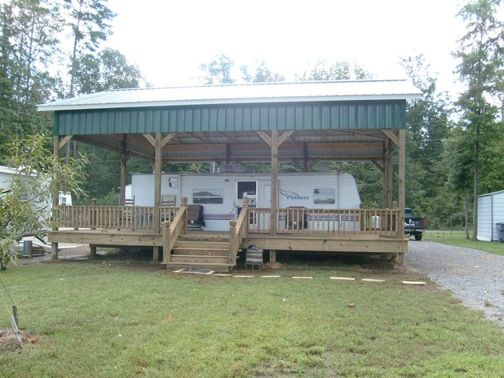 31 luxury wood rv carports for Carport deck